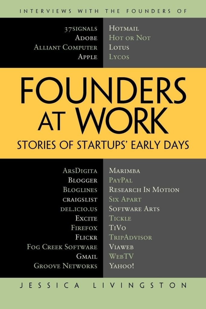The cover of Founders at Work us grey and black with a yellow banner across the front. The names of the companies featured within are listed across the top and bottom.