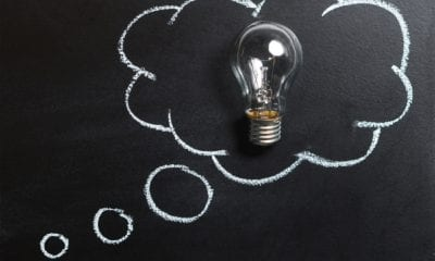 thought light bulb on chalkboard