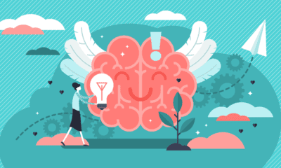 illustration of brain with wings, clouds, a paper airplane, a woman standing next to a floating lightbulb, and plants