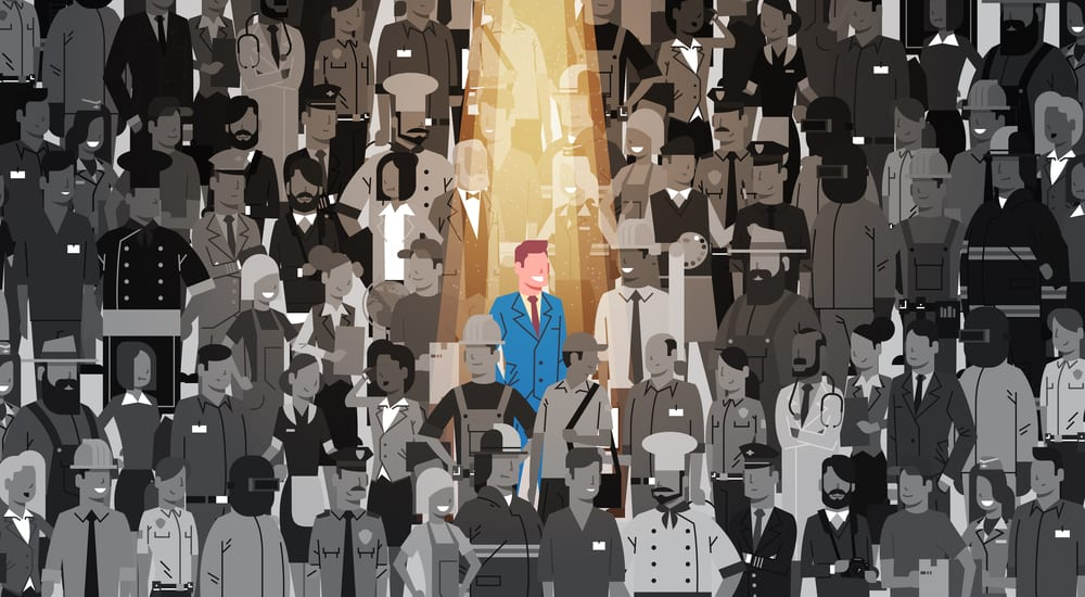 illustration of a group of businesspeople with a spotlight on one man in a suit in the center