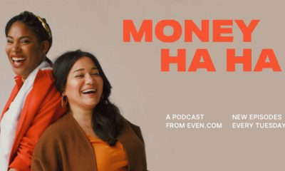 Yasmine Khan and Dara Wilson in a promotional photo for their podcast Money Ha Ha