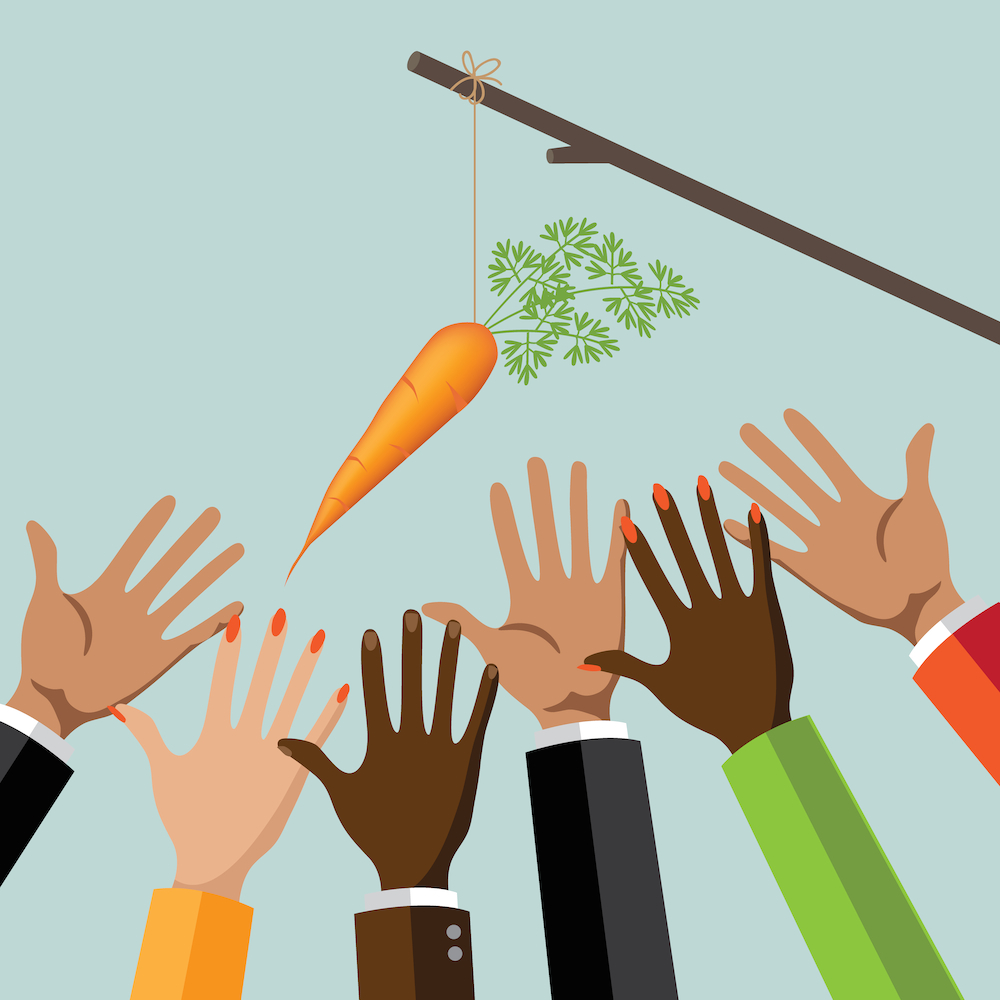 Employees reaching for carrot perks